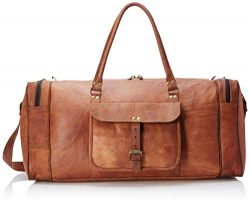 Leather 24 Inch Square Duffel Travel Gym Sports Overnight Weekend Leather Bag