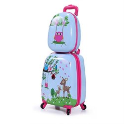 Kids Carry On Luggage Set 12″ and 16″ Set of Two 2PCS Hard Shell Suitcase Backpack