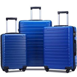 Flieks Luggage Set 3 Piece Light Weight Hardside Spinner Suitcase (blue)