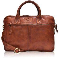 Leather Messenger bag for men 15″ Laptop Satchel Shoulder Bag for Men and Women (Dark Tan  ...