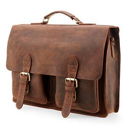 Kattee Handmade Genuine Leather Satchel Bag 15″ Laptop Briefcase Messenger Bag for Men (Co ...