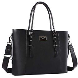 MOSISO Laptop Tote Bag for Women (Up to 15.6 Inch),Water Resistant PU Leather Large Capacity wit ...