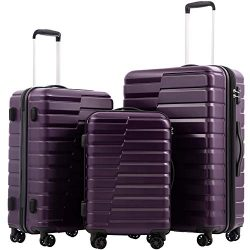 COOLIFE Luggage Expandable Suitcase PC+ABS 3 Piece Set with TSA Lock Spinner Carry on new fashio ...