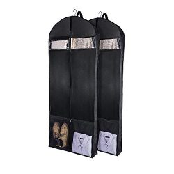 Wanapure 60″/54″/43″ Garment Bags, 3 in 1 Suit Bag with 2 Large Mesh Shoe Pock ...