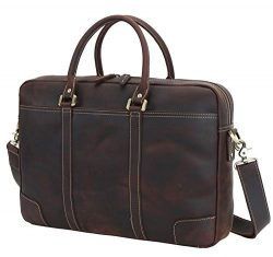 Texbo Men's Solid Large Full Grain Cowhide Leather Vintage 17.3″ Laptop Briefcase fo ...