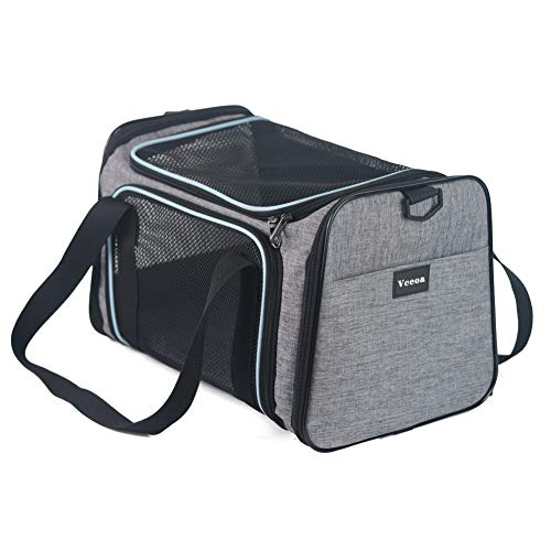 Vceoa Airline Approved Pet Carriers,Soft Sided Collapsible Pet Travel Carrier for Medium Puppy a ...