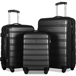 Merax Expandable Luggage Set with TSA Locks, 3 Piece Spinner Suitcase Set (Black)