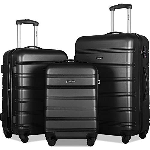 Merax Expandable Luggage Set with TSA Locks, 3 Piece Spinner Suitcase Set (Black)