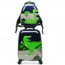 2pcs Children Rolling Suitcase Animal Cartoon Pattern Carry On Set With Universal Wheels 18 in w ...