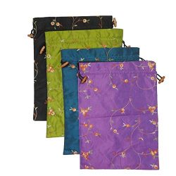 DODOGA 4pcs Embroidered Silk Flower Design Jacquard Travel Bag, Lingerie Bags Underwear Bags Lau ...
