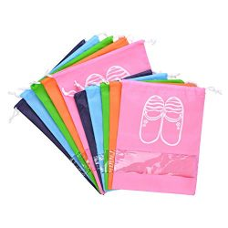 GCOA 10 Pack Travel Shoes Bag Dust-Proof Waterproof Travel Shoe Organizer Bags Transparent Windo ...