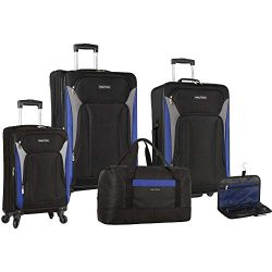 Nautica Open Seas 5 Piece Luggage Set, Black