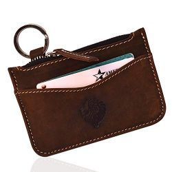 Louis Pelle Leather Minimalist Wallet RFID Blocking Coin Pouch