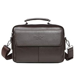 Leather Briefcase Messenger Handbag for Men Business Travel Outdoor CrossBody Shoulder Bag Handb ...
