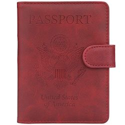 GDTK Leather Passport Holder Cover Case RFID Blocking Travel Wallet (Wine Red)