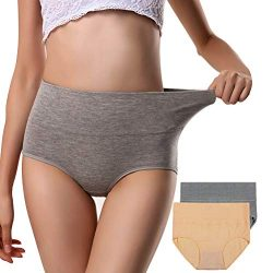 Annyison Women Panties 4/5 Pack, Soft Cotton High Waist Breathable Solid Color Briefs Panties fo ...