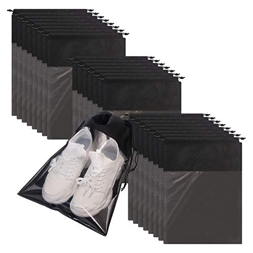 24 Pack Portable Shoe Bags for Travel Large Shoes Pouch Storage Organizer Clear Window with Draw ...