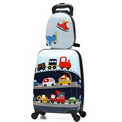 WCK Cartoon Kids Carry on Luggage Set Upright Rolling Wheels Travel Suitcase for Boys (car set)