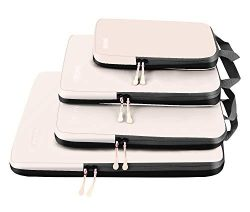 4 Set Compression Packing Cubes Travel Expandable Packing Organizers(Beige)