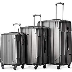 Merax Luggage 3 Piece Set P.E.T Luggage Spinner Suitcase Lightweight 20 24 28inch (Gray2019)