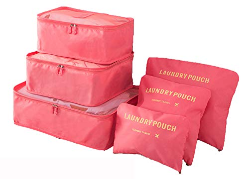 Lightweight 6 Pcs Packing Cubes System, FashionUP Travel Storage Packing Organizers Laundry Bags ...