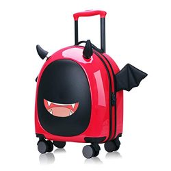 Kids Hardside Luggage, 16 inch Kid Carry On Luggage Cute Little Demon Design With Emoji sticker  ...