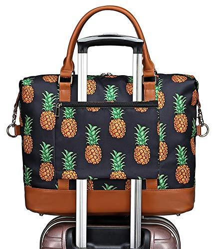 Womens Weekender Overnight Bag Carry-on Duffel Shoulder Ladies Travel Tote Bags in Trolley Handl ...