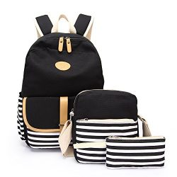 School Backpack, Aiduy Student Canvas Bookbag Lightweight Laptop Bag with Shoulder Bags and Pen  ...