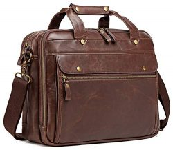 Leather Briefcase for Men Computer Bag Laptop Bag Waterproof Retro Business Travel Messenger Bag ...