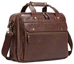 Leather Briefcase for Men ComputerBag Laptop Bag Waterproof Retro Business Travel Messenger Bag ...