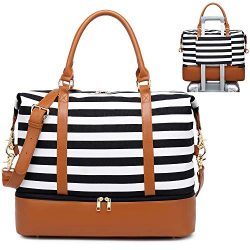 Womens Travel Weekend Bag Canvas Overnight Carry on Shoulder Duffel Beach Tote Bag (Black stripe ...