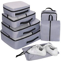 Travel Organizer Packing Cubes Set 7Pcs, Faxsthy Mesh Luggage Cubes, Luggage Packing Organizers  ...
