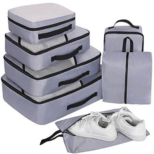 Travel Organizer Packing Cubes Set 7Pcs, Faxsthy Mesh Luggage Cubes, Luggage Packing Organizers  ...