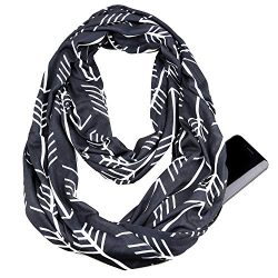 Infinity & Soft Scarf with Hidden Zipper Pocket Bundle Set Travel Accessories for Women Girl ...