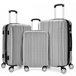 COOMEE Luggage Set 3PCS,ABS +PC Spinner Hardshell lightweight Suitcase Silver#