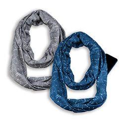 Infinity & Soft Scarf with Hidden Zipper Pocket Bundle Set Travel Accessories for Women Girl ...