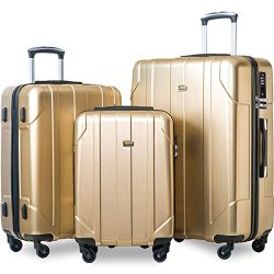 Merax 3 Pcs Luggage Set with Built-in TSA, Eco-friendly P.E.T Light Weight Spinner Suitcase Set  ...