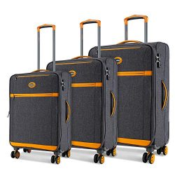 SHOWKOO Luggage Sets Expandable 3 Piece Softshell Lightweight & Durable Suitcase Impact Resi ...