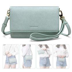 nuoku Women Small Crossbody Bag Cellphone Purse Wallet with RFID Card Slots 2 Strap Wristlet(Max ...