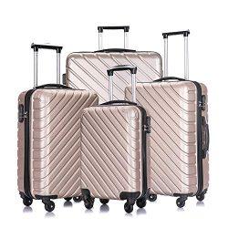 4 Pcs Luggage Sets Suitcase Sets Spinner Wheel Hardshell Lightweight Luggage 18″ 20″ ...