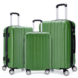 COOMEE Luggage Set 3PCS,ABS +PC Spinner Hardshell lightweight Suitcase Green#