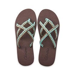 chitobae Flip Flops Sandal for Women (7 M US, Turquoise Grey)