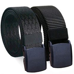WYuZe 2 Pack Nylon Belt Outdoor Military Web Belt 1.5″ Men Tactical Webbing Belt (waist-be ...