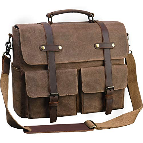 Laptop Messenger Bag for Men 15.6 Inch Waterproof Vintage Waxed Canvas Briefcase Genuine Leather ...