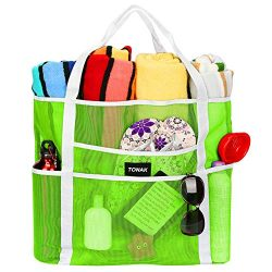 Mesh Beach Bag Toy Tote Bag Grocery Storage Net Bag Oversized Big XL with Pockets Foldable Light ...