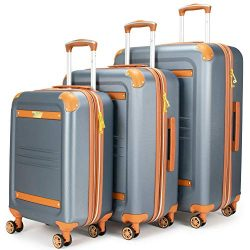 19V69 Italia Vintage Expandable Hard Spinner Luggage 3 Piece Set (Grigio Gray) (Grigio Gray)