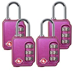 TSA Approved locks for luggage 4 pack,  Zinc Alloy Body, Heavy Duty 3 Digit Combination Padlocks