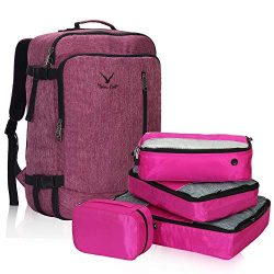 Hynes Eagle 38L Flight Approved Weekender Carry on Backpack Red Violet with Fuchsia 4PCS Packing ...