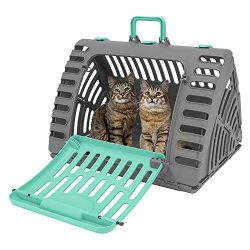 SportPet Designs X-Large Foldable Travel Cat Carrier – Front Door Plastic Collapsible Carrier