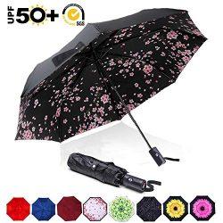 ABCCANOPY Umbrella Compact Rain&Wind Teflon Repellent Umbrellas Sun Protection with Black Gl ...